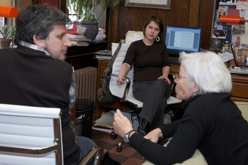 David and Maggie of APTP with filmmaker Nancy Kelly, by Photographer Amy Braswell for Kelly-Yamamoto Productions