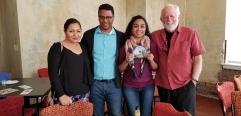 Natty Tello, Ronaldo Tello, Gabriela Watson with filmmaker Eugene Corr CU