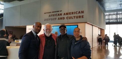 (l-r) Damion Thomas, Curator of Sports, National Museum of African American History and Culture, with Filmmaker Corr, Coach Bryant and wife Althea Bryant